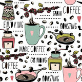 Seamless pattern with coffee objects. Hand drawn coffee texture. Perfect for kitchen textile, coffee packaging, etc. Seamless pattern with coffee objects. Hand Stock Image