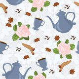 Seamless pattern with coffee pot, cups, cinnamon, cloves, anise and roses. Stock Photography