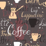 Seamless pattern with coffee pots, cups and text. Seamless pattern with coffee pots and cups and ink painted coffee related words. Brush lettering text. Great Stock Images