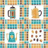 Seamless pattern coffee pots and plaid Stock Photo