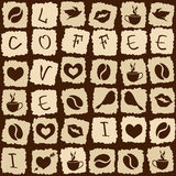 Seamless pattern of coffee puzzle Stock Photography