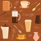 Seamless pattern with coffee related elements Royalty Free Stock Photography