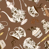 Seamless pattern of coffee service Stock Photography