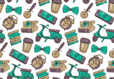 Seamless pattern for coffee shop or pizzeria Royalty Free Stock Images