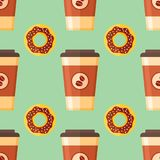 Seamless pattern with coffee takeaway and chocolate glazed donut. On green background. Vector texture Stock Images
