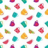 Seamless pattern with coffee and tea cups Royalty Free Stock Photos