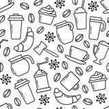 Seamless pattern on coffee theme. Vector illustration royalty free illustration