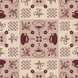 Seamless pattern on coffee theme. Pattern with coffee cups, hearts ornament and lettering details Royalty Free Stock Images