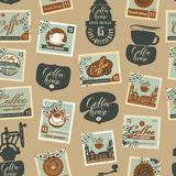 Seamless pattern on coffee theme with postmarks Stock Image