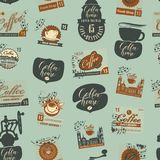 Seamless pattern on coffee theme with postmarks Stock Photos