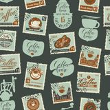 Seamless pattern on coffee theme with postmarks Stock Images