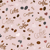 Seamless pattern of coffee. Seamless pattern on the theme of coffee. For printing on packaging, bags, cups, etc. Vector Stock Image