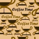 Seamless pattern with coffee time symbol. Royalty Free Stock Image