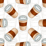 Seamless pattern coffee to go scetch and color Stock Photography