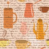 Seamless pattern with coffee types text Royalty Free Stock Photo