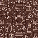 Seamless pattern of coffee, vector background. Cute beverages, hot drinks flat line icons - coffeemaker machine, beans Stock Photography