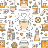 Seamless pattern of coffee, vector background. Cute beverages, hot drinks flat line icons - coffeemaker machine, beans. Cup, grinder. Repeated texture for cafe Stock Photography