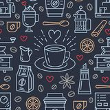 Seamless pattern of coffee, vector background. Cute beverages, hot drinks flat line icons - coffeemaker machine, beans. Cup, grinder. Repeated texture for cafe Stock Photo