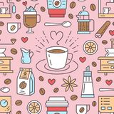 Seamless pattern of coffee, vector background. Cute beverages, hot drinks flat line icons - coffeemaker machine, beans. Cup, grinder. Repeated texture for cafe Royalty Free Stock Images