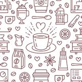 Seamless pattern of coffee, vector background. Cute. Beverages, hot drinks flat line icons - coffeemaker machine, beans, cup, grinder. Repeated texture for cafe Stock Photos