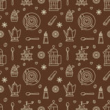 Seamless pattern of coffee, vector background. Repeated brown texture for coffee shop wrapping paper. Cute beverages Royalty Free Stock Photography