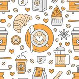 Seamless pattern of coffee, vector background.. Seamless pattern of coffee, vector background. Cute beverages, hot drinks flat line icons - coffeemaker machine Royalty Free Stock Photo