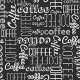 Seamless pattern of coffee words. White chalk on a black board. Chaotically scattered words of different fonts. Background vector illustration