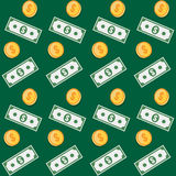 Seamless pattern. Coin and paper money symbols. Stock Images