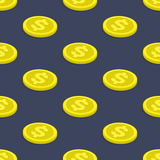 Seamless pattern coins. Seamless pattern gold coins. Modern background of gold coins with dollar sign. Tiling financial backdrop. Seamless texture with golden Royalty Free Stock Photo