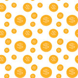 Seamless pattern of the coins. Vector Illustration. Royalty Free Stock Photos