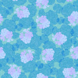 Seamless pattern in cold tones with flowers and geranium leaves. Stock Images