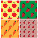 Seamless pattern collection with apples, strawberries, carrots and cherry Royalty Free Stock Photography