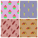 Seamless pattern collection with apples, strawberries, carrots and cherry Stock Photos