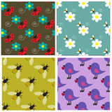 Seamless pattern collection with bees, ladybugs, birds and flowers Stock Photos