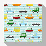Seamless pattern collection with car Stock Image