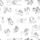 Seamless pattern. Collection of cute children's drawings Royalty Free Stock Image