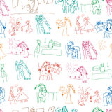 Seamless pattern. Collection of cute children's drawings Royalty Free Stock Photos