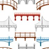 Seamless pattern. Collection of different bridges. City architecture flat icon. Vector illustration on white background.  vector illustration