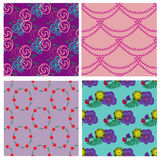 Seamless pattern collection with flowers and beads Royalty Free Stock Image