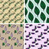 Seamless pattern collection with flowers and leafs Stock Photography