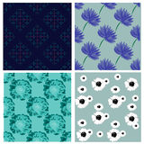 Seamless pattern collection with flowers and ornaments Stock Photo