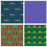 Seamless pattern collection with forest, berries and trees Stock Images