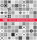 100  seamless pattern collection, geometric universal patterns and tiles - big pack. Collection of different repetitive designs in black and white, perfect for Royalty Free Stock Image