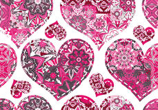 Seamless pattern with collection hearts in vintage patchwork style. Royalty Free Stock Image