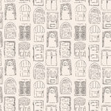 Seamless pattern. Collection of old door icon Stock Photos