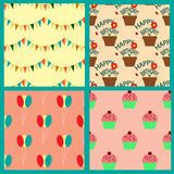 Seamless pattern collection with pennants, balloons, cupcakes and houseplants Stock Images