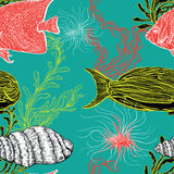 Seamless pattern with collection of sea shell, marine plants, seaweed and tropical fish. Vintage set of hand drawn marine flora. Vector illustration. Design Royalty Free Stock Images
