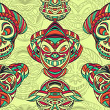 Seamless pattern with collection of Tribal mask. Retro black and white highly detailed hand drawn Stock Photo