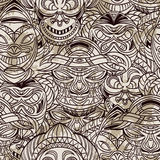 Seamless pattern with collection of Tribal mask. Retro black and white highly detailed hand drawn Stock Images
