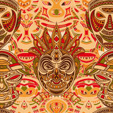 Seamless pattern with collection of Tribal mask. Retro colorful highly detailed hand drawn Royalty Free Stock Photography
